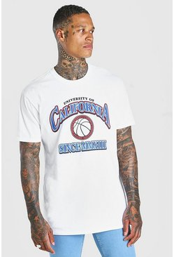 T-shirt coupe oversize à imprimé graphique Basketball, Blanc