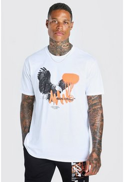 Oversized T-Shirt mit Official MAN-Adler-Print, Weiß