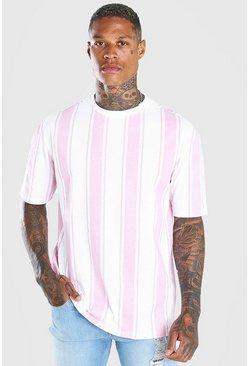 Pink Oversized Vertical Stripe T-Shirt