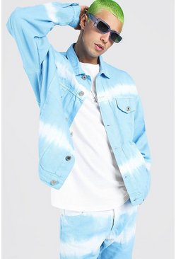 Powder blue Oversized Tie Dye Denim Jackets