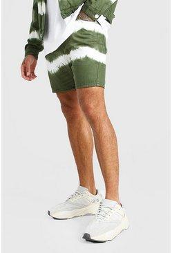 Khaki Skinny Fit Tie Dye Jean Short