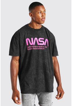 T-shirt oversize délavé à l'acide NASA officiel, Anthracite :