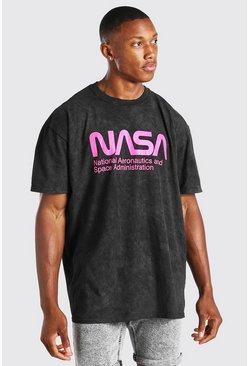 Charcoal Oversized Acid Wash NASA License T-Shirt
