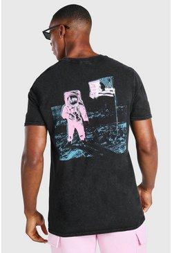 Charcoal Acid Wash NASA Astronaut Back Print T-Shirt