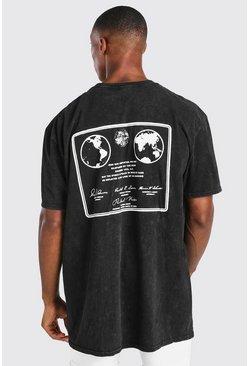 Charcoal Oversized Acid Wash NASA Back Print T-Shirt