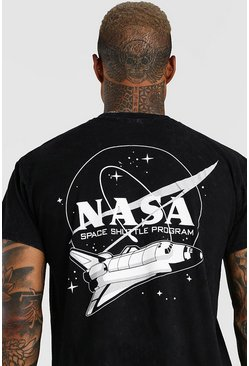 Charcoal Washed NASA Space Shuttle Print T-Shirt
