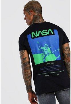 Black NASA Astronaut Back Print License T-Shirt