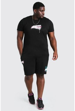 Black Big And Tall LA Print T-Shirt And Short Set