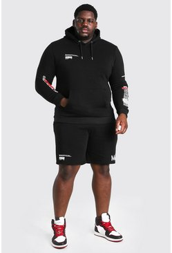 Black Big And Tall MAN Graffiti Short Tracksuit