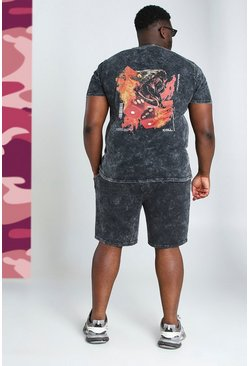 Grandes tailles - Ensemble short et t-shirt serpent, Anthracite :