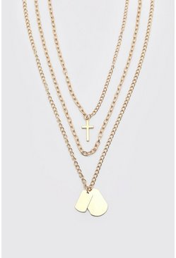 Gold 3 Layer Pendant Chain Necklace