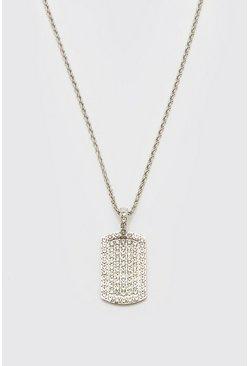 Silver Diamante Dog Tag Necklace