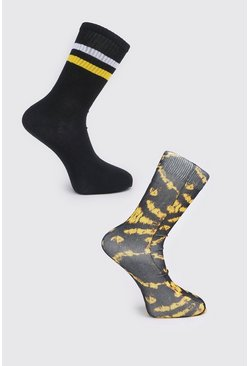 Yellow 2pk Tie Dye and Plain Socks