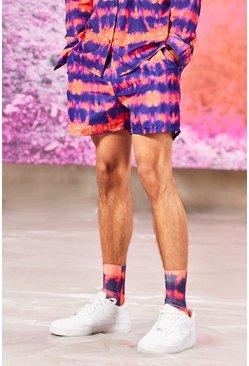 Coral Tie Dye Mid Length Swim Shorts