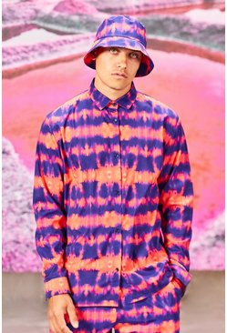 Coral Long Sleeve Collared Relaxed Fit Tie Dye Shirt
