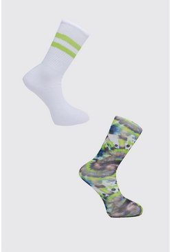 Blue 2pk Tie Dye and Plain Socks