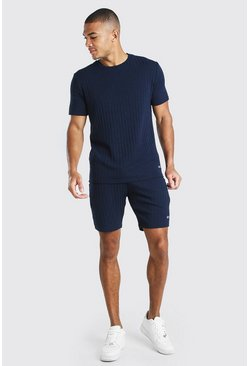 Navy Stripe Knitted T-Shirt & Short Set With Tab