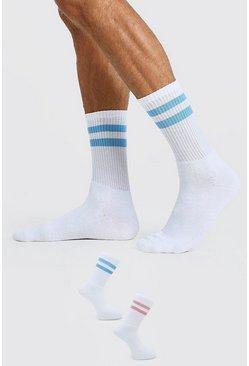 Blue 2 Pack Stripe Sport Socks