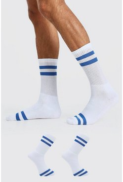 Blue 2 Pack Stripe Sport Socks