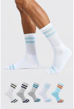 Multi 5 Pack Stripe Sport Socks