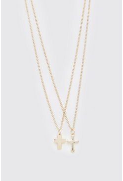 Gold Double Layer Cross Pendant Necklace