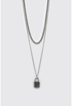 Silver Double Layer Pendant Necklace With Padlock