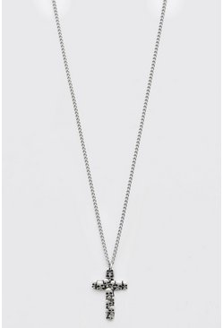 Silver Cross Pendant Necklace With Skulls