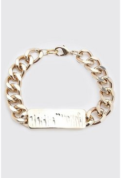 Gold Chunky Chain ID Bracelet