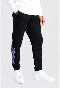 Black Official MAN Regular Fit Graffiti Print Jogger