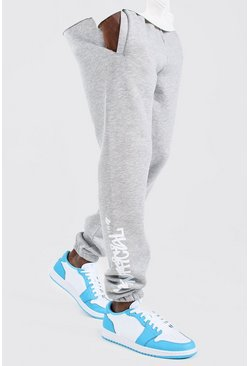 Grey marl Official MAN Regular Fit Graffiti Print Jogger