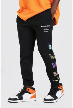 Black MAN Official Skinny Fit Butterfly Print Joggers