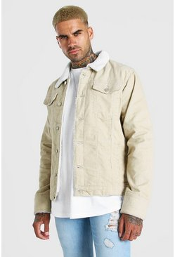 Ecru Corduroy Jacket With Borg Collar
