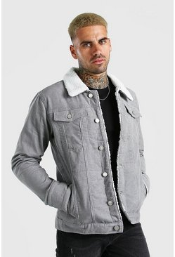 Light grey Cord Jacket With Borg Collar