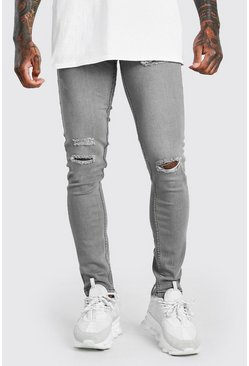 Grey Skinny Jeans With Multi Rips