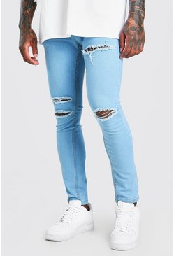 Light blue Skinny Jeans With Multi Rips