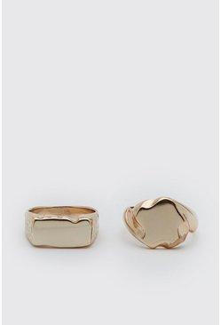 Gold 2 Pack Signet Ring Set