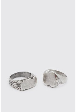 Silver 2 Pack Signet Ring Set