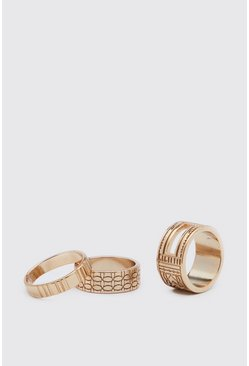 Gold 3 Pack Textured Ring Set