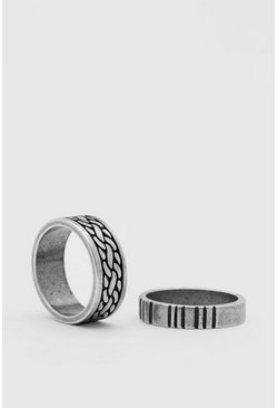 2er Pack Ring-Set, Silber