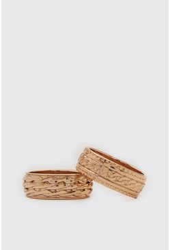 Gold 2 Pack Textured Ring Set