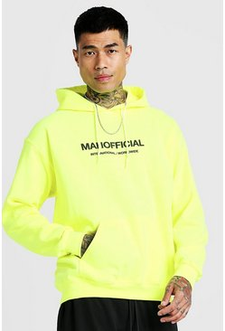 Mens Neon-yellow MAN Official Puff Print Hoodie