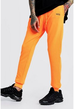 Original MAN neonfarbene Slim-Fit Jogginghosen, Neon-orange, Herren