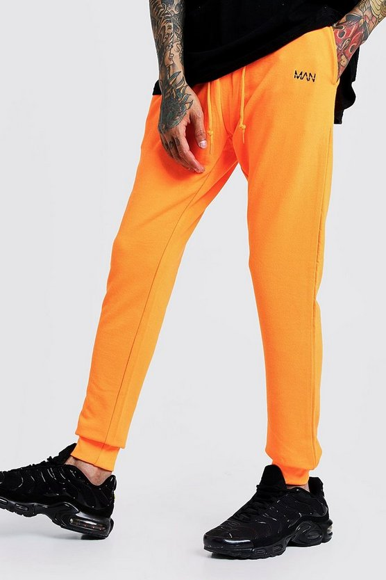 Mens Neon-orange Original MAN Slim Fit Neon Jogger