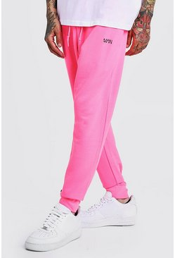 Mens Neon-pink Original MAN Slim Fit Neon Jogger