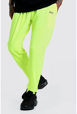 Mens Neon-yellow Original MAN Slim Fit Neon Jogger