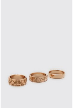 Gold 3 Pack Ring Set