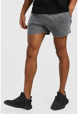 Dark grey Short Length Acid Wash Jersey Short