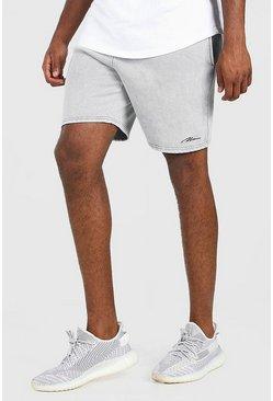 Light grey MAN Signature Acid Wash Jersey Short