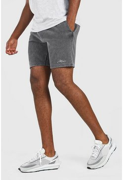 Dark grey MAN Signature Acid Wash Jersey Short