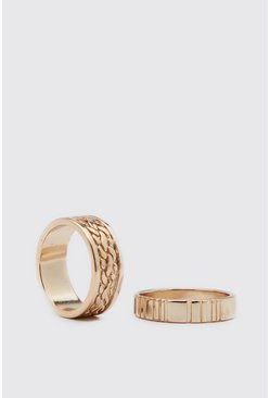 Gold 2 Pack Ring Set